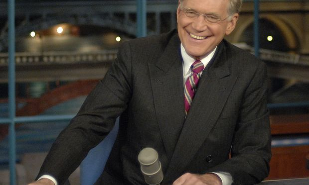 David Letterman at his talk show desk.